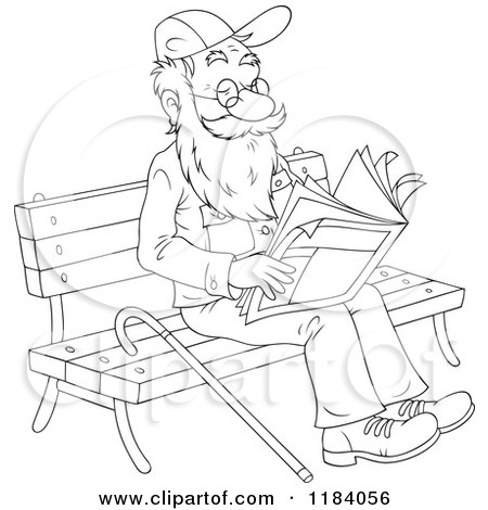 Cartoon of a Colored and Outlined Happy Senior Man Reading
