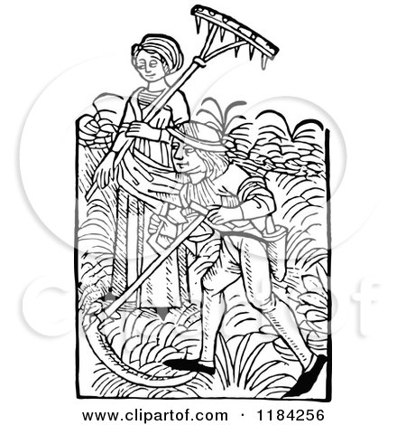Clipart of Retro Vintage Black and White Peasant Workers