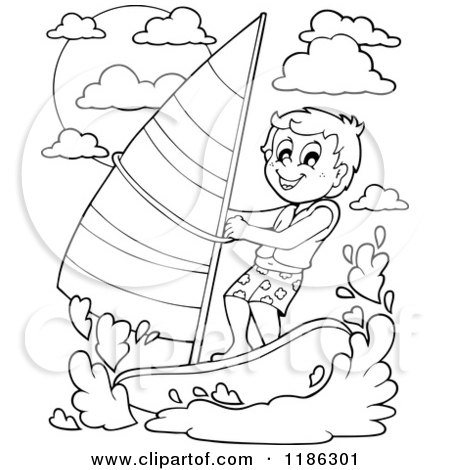Black and White Stick Drawing of a Person Windsurfing