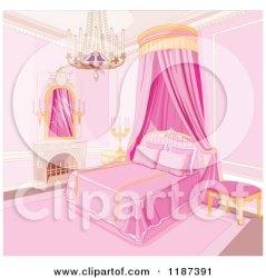 Cartoon Pink Bed Clipart