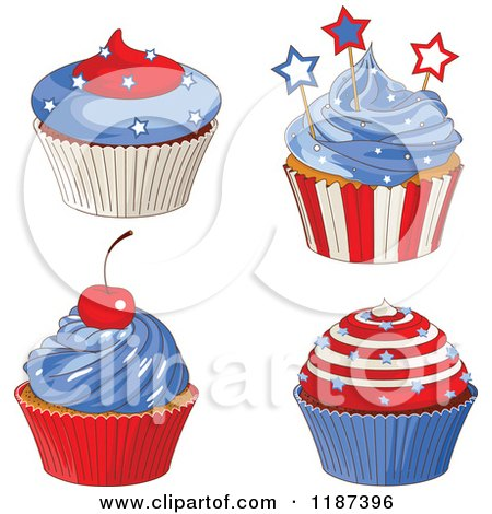 Cartoon Of A Cherry Topped Cupcake Over A Blank Ribbon
