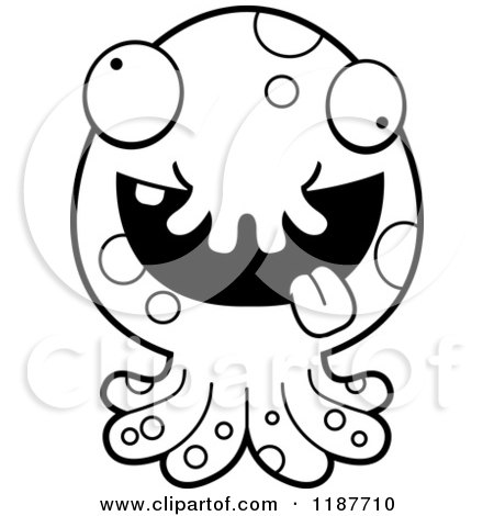 Cartoon Clipart Of A Black And White Tentacled Sea