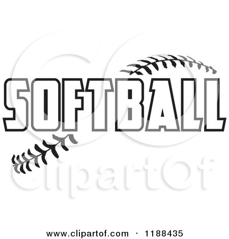 Cartoon of Black and White Softball Text over Stitches