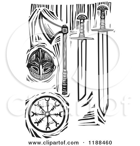 Clipart of Black and White Viking Weapons Woodcut