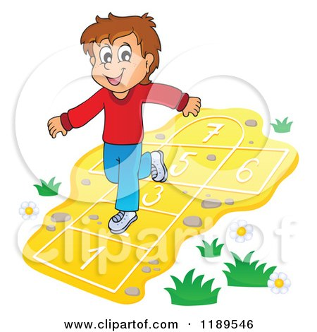 Cartoon of a Happy Boy Playing Hop Scotch Royalty Free