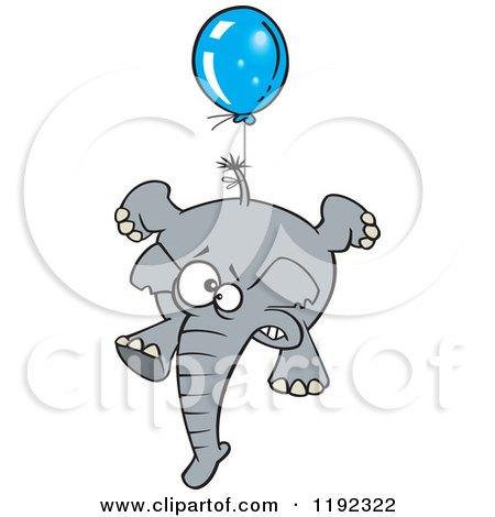 cartoon of scared elephant floating