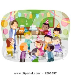 birthday teacher party happy classroom having children clipart cartoon female diverse studio bnp vector royalty illustration