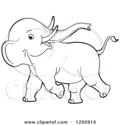 elephant baby cute clipart playful cartoon vector outlined royalty running lal perera illustration clipartof