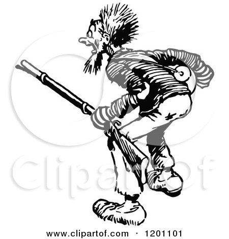 Clipart of a Vintage Black and White Indian War Club