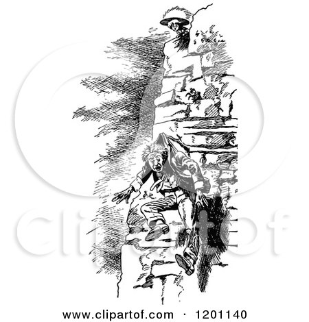 Clipart of a Retro Vintage Black and White Humpty Dumpty
