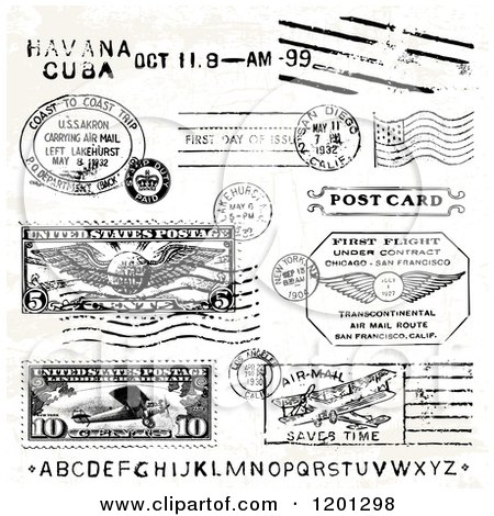 Clipart of Black and White Date and Location Postmarks