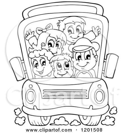Cartoon of a Crowded Outlined School Bus with a Driver and