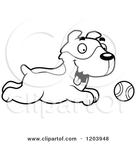 Cartoon Jack Russell Terriers Puppies Playing With Balls