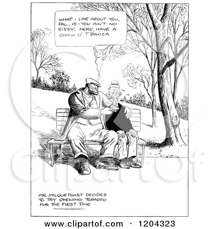 Clipart of Vintage Black and White Men Being Buddies on a