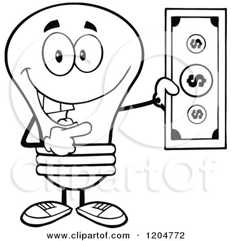 Cartoon of a Happy Black and White Light Bulb Mascot