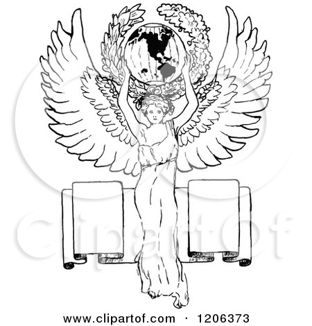 Clipart of a Vintage Black and White Globe and Stand