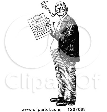 Clipart of a Vintage Black and White December Calendar