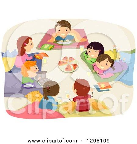 Cartoon of a Girls Heart Sleeping Bag and Slumber Party