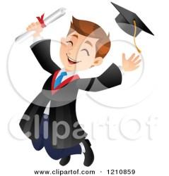 graduate graduation cartoon clipart boy jumping clip graphics royalty illustrations character rf board vector kid tossing caucasian studio clipartpanda printable