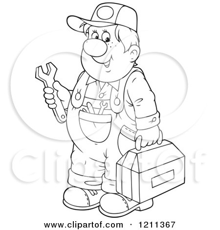 Cartoon of a Chubby Mechanic Man Holding a Tool Box and