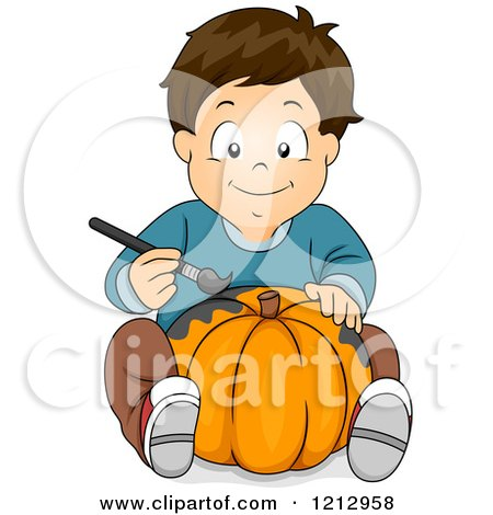 clipart of boy painting halloween