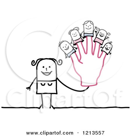 Clipart of a Stick People Woman Holding up a Hand with