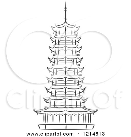 Black And White Chinese Pagoda Sketch Coloring Page