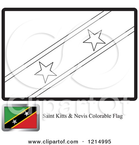 Clipart of a Coloring Page and Sample for a Saint Kitts