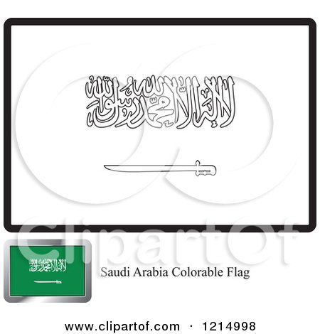 Clipart of a Coloring Page and Sample for a Saudi Arabia