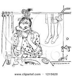 clipart washing face bathroom toilet teen wash vector retro kid restroom print royalty arms studio poster prints diarrhea sick rf