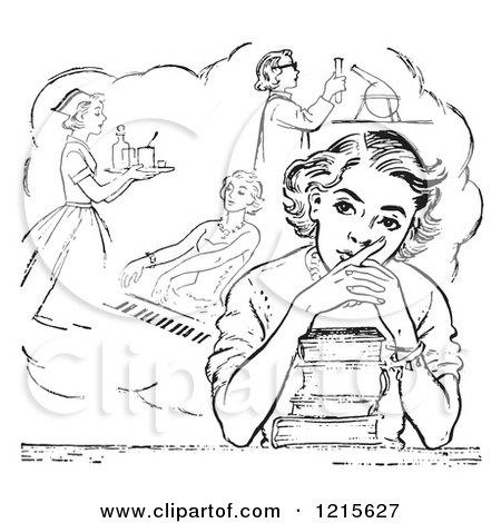 Retro Vector Clipart of a Vintage Teen High School Girl