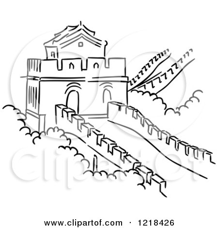 Black and White Sketch of the Great Wall of China Posters