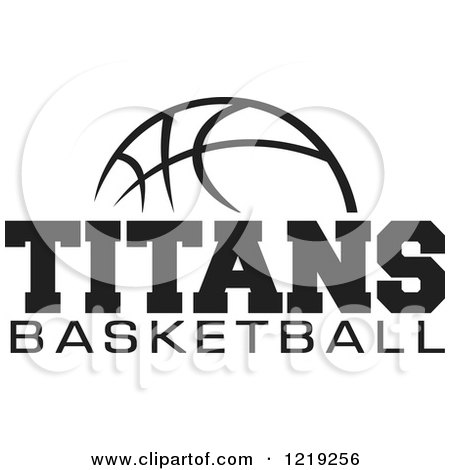 Clipart of a Black and White Ball with TITANS BASKETBALL