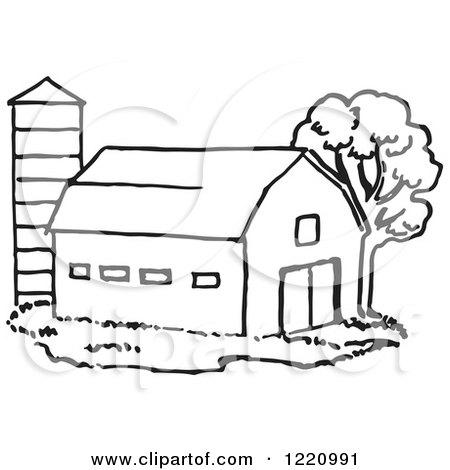 Barn Cartoon Black And White