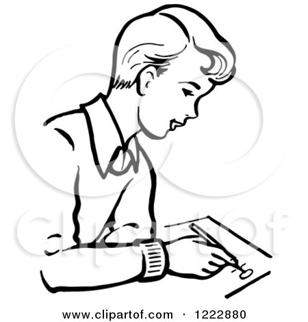 Clipart of a Retro Boy Writing in Black and White