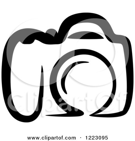 Clipart of a Black and White Camera 23 Royalty Free