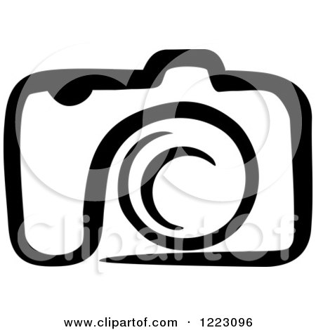 Clipart of a Black and White Camera 24 Royalty Free