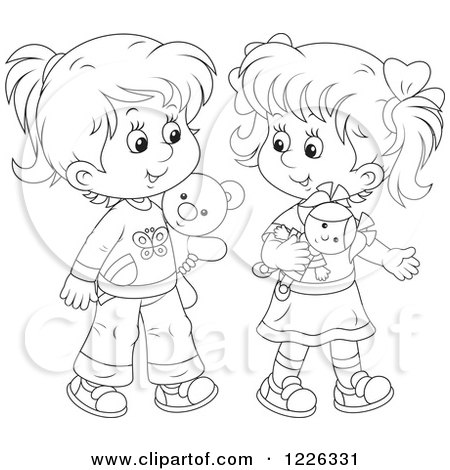 Royalty-Free (RF) Clipart of Girl Friends, Illustrations