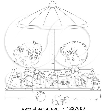 Coloring Page Outline Of A Boy Playing In A Sand Box