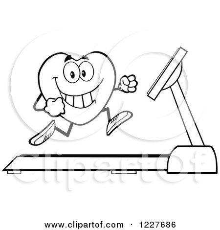 Clipart of an Outlined Heart Character Running on a