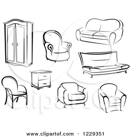 RoyaltyFree RF Clipart of End Tables Illustrations