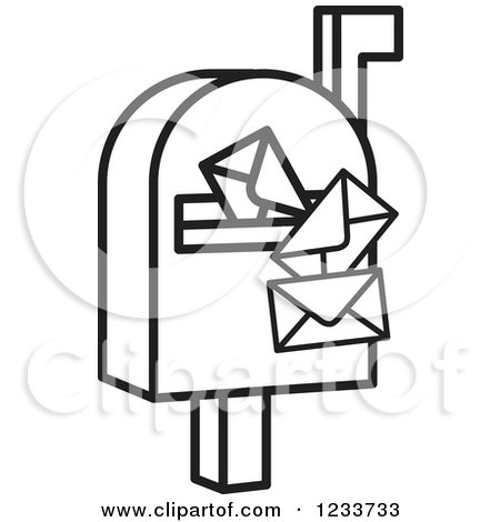 Clipart of a Black and White Mailbox and Envelopes