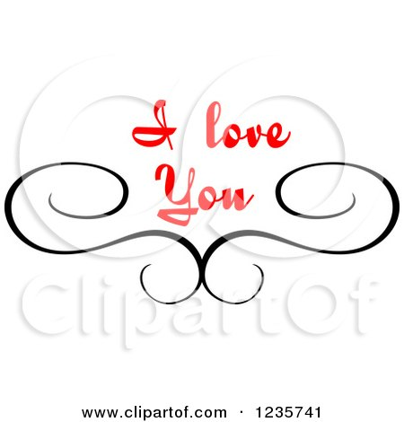 Download Clipart of a Black Swirl and Red I Love You Text 2 ...