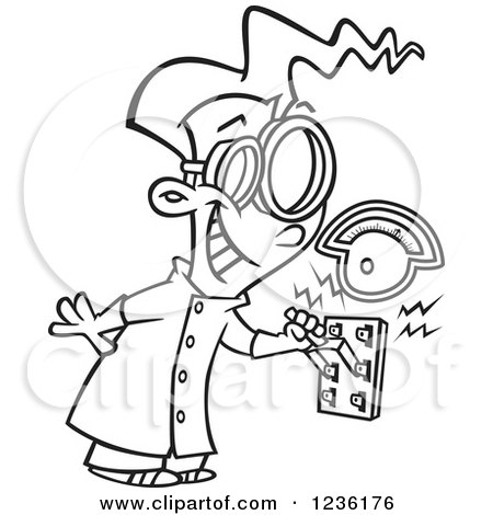 Clipart of a Brunette Mad Scientist Boy Pulling an