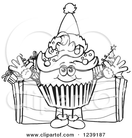 Black and White Cupcake Clip Art