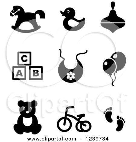 Clipart Illustration of a White Rocking Horse Unicorn With