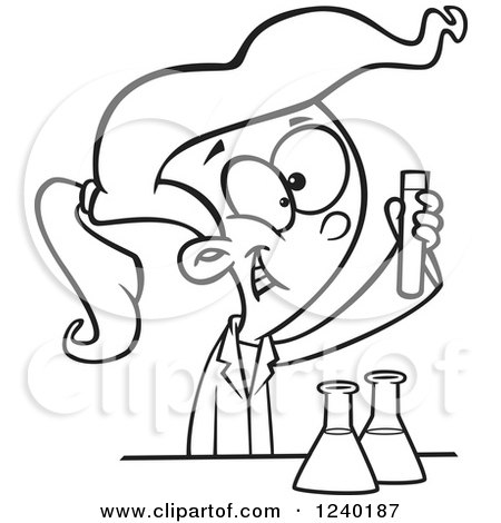 Clipart of a Black and White Happy Girl Doing a Science