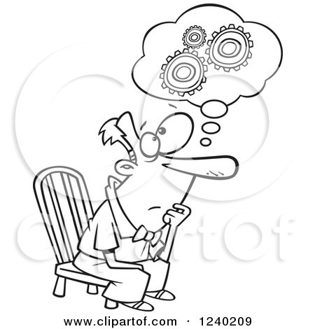 Clipart of a Black and White Gear Head Man Sitting and
