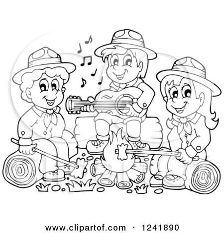 Clipart of Black and White Boy and Girl Scouts Singing