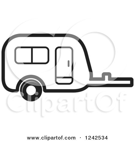 Clipart of a Black and White Caravan Camper Trailer